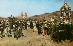 Kunstdruck von Ilja Jefimowitsch Repin - Kreuzprozession im Gouvernement Kursk.