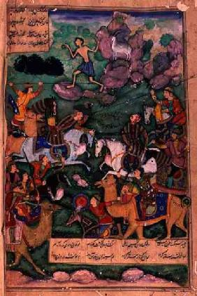 The Battle of Clans, folio 15b from the poem 'Layla and Majnun', written by Amir Khusrau Dihlavi (12 1600