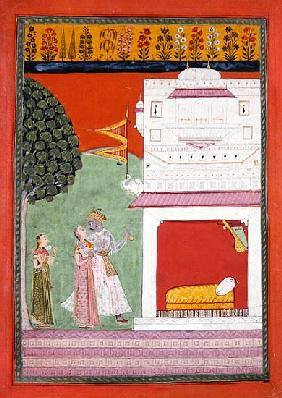 Lovers approaching a bed chamber, Malwa, c.1680