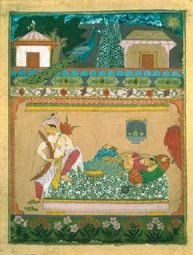 Lovers at Daybreak, illustration of the musical mode 'Raga Vibhasa', Northern Deccan or Southern Raj c.1675