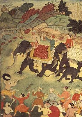 A party of elephant hunters, Mughal c.1615