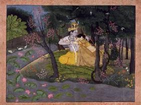 Radha and Krishna embrace in a grove of flowering trees c.1780  on