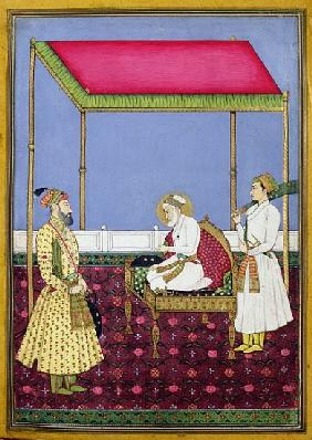 The Emperor Aurangzeb in old age seated on a throne, miniature from a Muraqqa album, early eighteent
