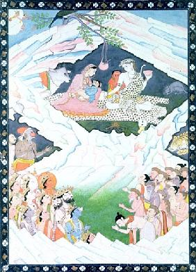 The Holy Family of Shiva and Parvati on Mount Kailash