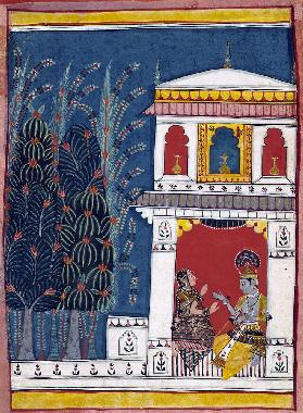 Krishna and a lady in a pavilion c.1660