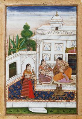 Vilaval Ragini: Woman at her Toilet, from a Ragamala, from Bikaner, Rajastan