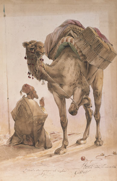 Praying Arab with a Secured Camel - Ippolito Caffi als ...