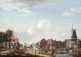 Dutch Canal Scene with Elegant Figures and a Mill 1877