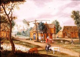 A village landscape with a woman drawing water from a well (panel)