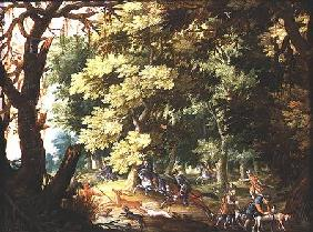 A Wooded Landscape with Hunters and Hounds (oil on copper)