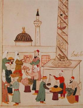 Ms 1671 A Bazaar in Istanbul c.1580