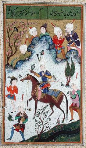 Ms B-284 fol.50b The King's Hunt, from 'Divan' by Huseyn Bayqara c.1540