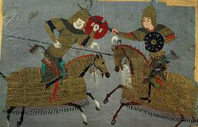 Two warriors on horseback in combat, School of Tabriz c.1480