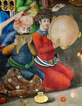 Detail of the musicians, from The Reception for the Ambassador of the Grand Moghul at the Court of t from The R