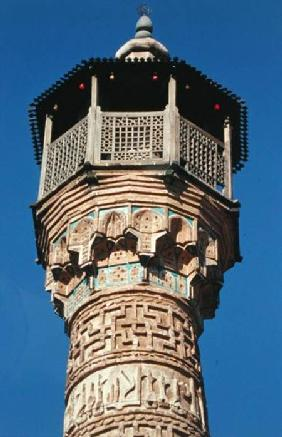 Elaborate brickwork at the top of the Semnan Minaret