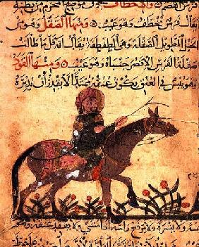 Horse and rider, illustration from the 'Book of Farriery' by Ahmed ibn al-Husayn ibn al-Ahnaf 1210