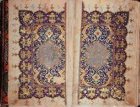 Illuminated pages of a Koran manuscript, Il-Khanid Mameluke School