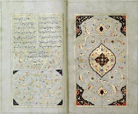Illuminated pages from a manuscript of Hafez, Zand Period style 1790