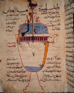 Mechanical device for pouring water, illustration from the 'Treatise of Mechanical Methods', by Al-D 1206