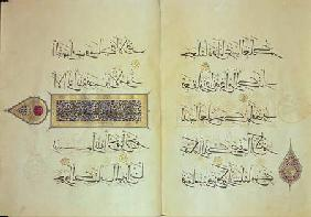 Two pages from a Koran manuscript, illuminated by Mohammad ebn Aibak with calligraphy by Ahmad ebn S early 14th