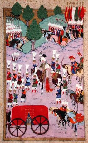 TSM H.1524 'Hunername': The Army of Suleyman the Magnificent (1494-1566) Leave for Europe, from the 1588