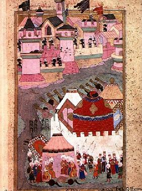 TSM H.1524 Siege of Vienna by Suleyman I (1494-1566) the Magnificent, in 1529, from the 'Hunername' 1588