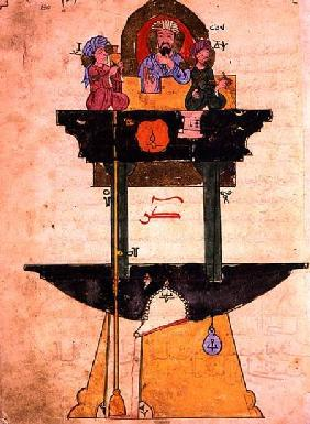 Water clock with automated figures, from 'Treaty on Mechanical Procedures' by Al-Djazari 1206