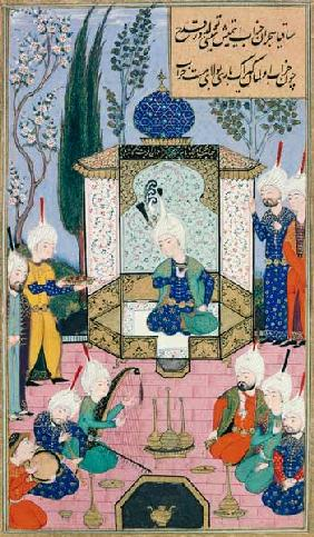 Ms B-284 Fol.33b The Court of the Sultan, illustration from 'The Divan of Sultan Husayn Bayqara' c.1540