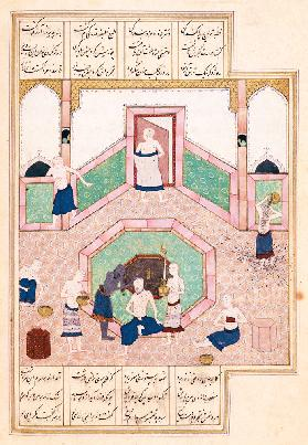 Ms D-212 fol.28b The Turkish Bath c.1550