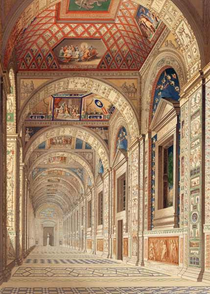 View of the second floor Loggia at the Vatican, with decoration by Raphael, from 'Delle Loggie di Ra published