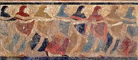 Women performing the funerary ceremonial chain dance, from Ruvo 4th centur