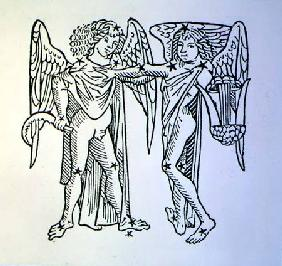 Gemini (the Twins) an illustration from the 'Poeticon Astronomicon' by C.J. Hyginus, Venice 1485