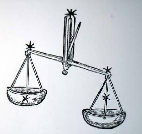 Libra (the Scales) an illustration from the 'Poeticon Astronomicon' by C.J. Hyginus, Venice 1485