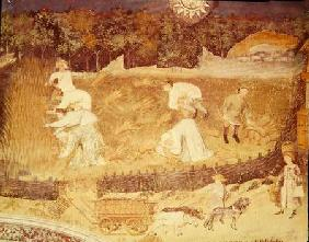 The Month of August, detail of the harvest c.1400
