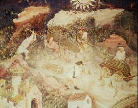 The Month of December, detail of men cutting down trees c.1400