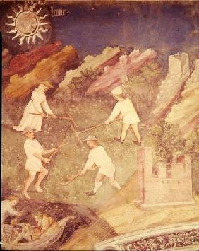 The Month of July, detail of the harvest c.1400