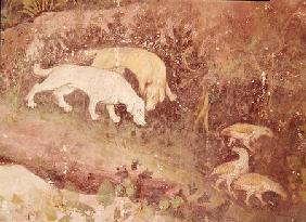 The Month of June, detail of dogs and partridges c.1400