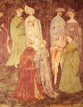 The Month of June, detail of noblemen and women walking c.1400