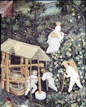 The Month of October, detail of grape-pickers pressing grapes c.1400