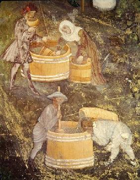 The Month of October, detail of grape-pickers and vats c.1400