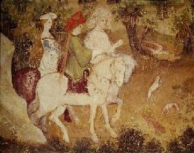 The Month of September, detail of the departure for the hunt c.1400