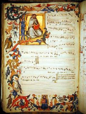 Page of musical notation with a historiated initial, produced at the Florentine monastery of S. Mari