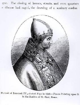Portrait of Pope Innocent IV (d.1254) illustration from 'Science and Literature in the Middle Ages a 1878