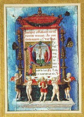 Historiated initial 'P' depicitng the Crucifixion, page from a Book of Hours (vellum) 1791