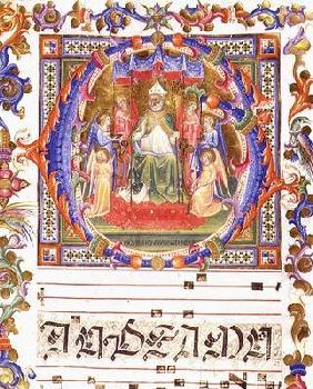 Ms 557 f.35v Historiated initial 'O' depicting Aegidius (St. Giles) (d.c.700) enthroned surrounded b 1833