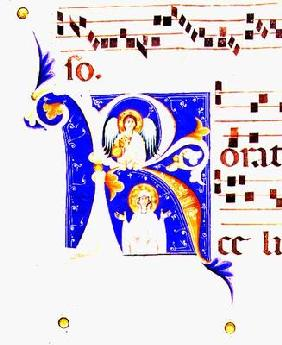 P 23 V Historiated initial 'R' depicting an angel and a female saint (vellum) 1833