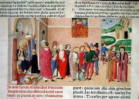Presentation of the work to the Pope, from 'Decretum Gratiani' (vellum) 1833