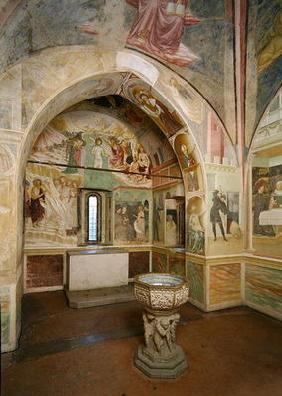 rnterior of the Baptistery with fresco depicting scenes from the Life of Saint John, by Tommaso Maso 16th