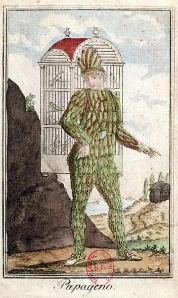 Papageno the bird-catcher, from 'The Magic Flute' by Wolfgang Amadeus Mozart (1756-91), (coloured en 1854