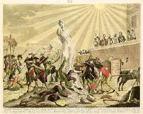 The Statue of Democracy, 1799 (coloured engraving)